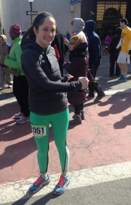 Amelia stretching before New Bedford's 1/2  Marathon March 16, 2014.